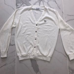 LACOSTE BUTTON UP CARDIGAN WHITE